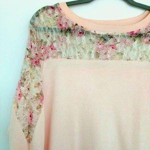 NWOT Forever 21 Floral Lace Shoulder Top size L